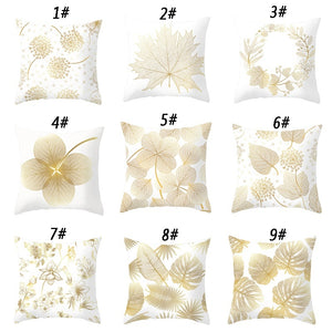 (Single-Sided Printing)Simple Gold Leaf Polyester Pillowcases Throw Pillow Cases Sofa Home Decor (45cm X 45cm )
