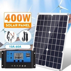 Upgraded 400W Solar Panel with 10-60A PWM Solar Panel Charging Controller for RV Marine LCD Display