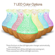 Load image into Gallery viewer, 130ml USB Electric Air Humidifier Essential Oil Aromatherapy Cool Mist Maker with 7 Color Changing Nightlights for Home & Ofiice