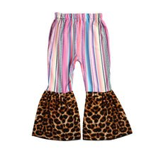 Load image into Gallery viewer, Kids Baby Girl Clothes Leopard&Plaids Bell-Bottomed Leggings Long Pants Trousers Cotton Outfit