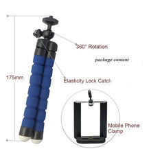 Load image into Gallery viewer, Flexible Sponge Octopus Mini Tripod With Wireless Remote Shutter For iPhone mini Camera Tripod Phone Holder clip stand