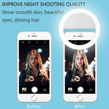 Load image into Gallery viewer, LED Selfie Ring Light for Cell Phone Supplementary Lighting Night Darkness Selfie Enhancing for phone Fill Light