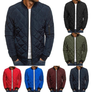 6 Colors Plus Size S-3XL Autumn and Winter Men Puffer Jacket Coat Plaid Cotton-padded Clothes