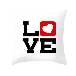 Peach Skin Velvety Pillowcase Valentine'S Day Black Red Letter Valentine'S Day Household Goods Sofa Cushion Cover