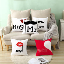Load image into Gallery viewer, Peach Skin Velvety Pillowcase Valentine'S Day Black Red Letter Valentine'S Day Household Goods Sofa Cushion Cover