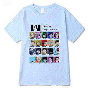 My Hero Academia Class 1-A Students Chart Printed Round Neck T-Shirts Cozy Tops Summer Tees