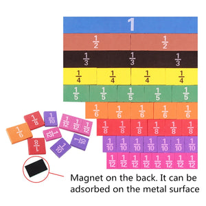 Magnetic Rainbow Fraction Tiles Math Toy Montessori Learning Educational Toys DFK