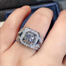 Load image into Gallery viewer, Natural Gemstones Diamond White Sapphire Ring 925 Sterling Silver Wedding Engagement Birthstone Ring Princess Promise Rings for Men Fashion Jewelry Accessories Size 6-12