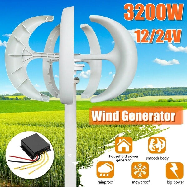 3200W12V/24V Lanterns Wind Turbines Automatic Generator Vertical  Low Noise Wind Turbines Efficient Energy-saving Generator