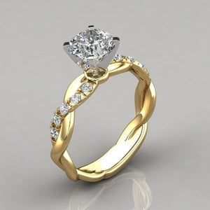 Dingsheng jewelry new ring women's two-color twist diamond ring wedding engagement zircon ring