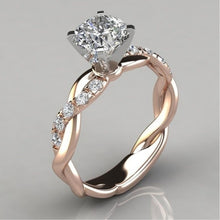 Load image into Gallery viewer, Dingsheng jewelry new ring women's two-color twist diamond ring wedding engagement zircon ring