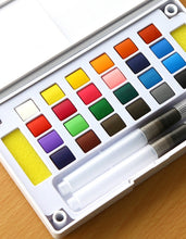 Load image into Gallery viewer, Watercolor Paint Essential Set - 12/18/24/36 Vibrant Colors - Lightweight and Portable - Perfect for Budding Hobbyists and Professional Artists - Paintbrush Included
