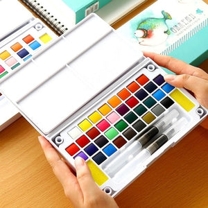 Watercolor Paint Essential Set - 12/18/24/36 Vibrant Colors - Lightweight and Portable - Perfect for Budding Hobbyists and Professional Artists - Paintbrush Included