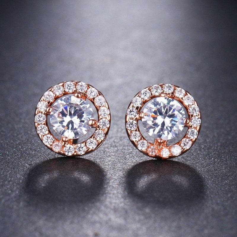 1.25ct Round Moissanite White Diamond Halo Brilliant Cut Stud Earrings
