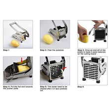 Load image into Gallery viewer, Stainless Steel Household Potato Chipper Vegetable and French Fry Cutter French Fry Chips Slicer Chopper Cutter