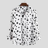 INCERUN Men Casual Party Polka Dot Dress Shirts Handsome Male Button Down Shirts