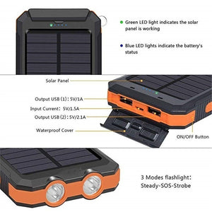 2021 the Lastest 20000000mAh Solar Waterproof Power Bank With Dual USB SOS LED FlashLights Battery Pack For All Type Phones