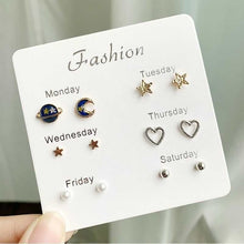 Load image into Gallery viewer, 1Set Classic Women's One Week Metal Heart Earrings For Women Girl Gifts Stud Earring Sets Mix Jewelry