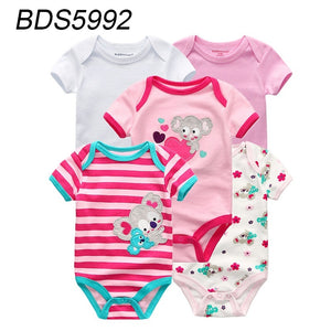 5 Pcs Summer Cartoon Short Sleeve Cotton Soft Baby Bodysuit Baby Boy Girl Clothes