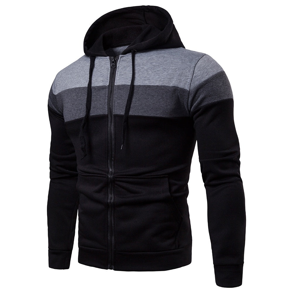 Autumn and Winter New Men's Clothing Creative Stitching Sleeves Casual Hooded Men's Sweater