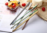 Simple Stainless Steel Chopsticks Metal Korean Chinese Metal Chop Sticks Tableware 2019