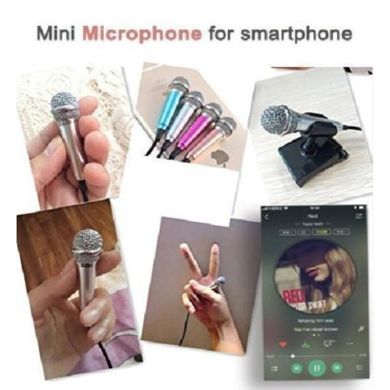 Little Microphone Singing Portable Mini Microphone with Omnidirectional Stereo Microphone Suitable for Apple Phone/Android Cellphones/Tablets/Laptops/Computers