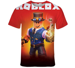 Summer fashion new children's wear Roblox 3D color printing cool digital printing Tshirt 110-160