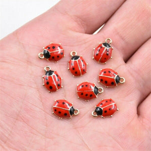 10X Lovely Ladybird Ladybug Lady Beetles Enamel Charms Pendant for DIY Bracelet Anklet Necklace Earrings Jewelry Making