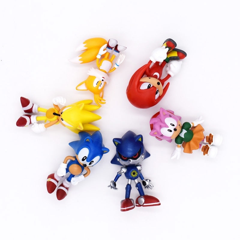 6Pcs/Set 6cm Sonic Figures Toy Pvc Toy Sonic Shadow Tails Characters Figure Toys For Children Animals Toys Set