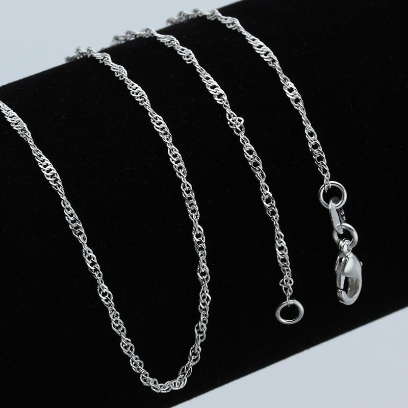 Luxurious 925 Silver 2MM Men Women Water Wave Chain Necklace Bride Wedding Engagement Jewelry (DIY Necklace) 16\-30\