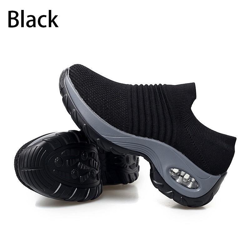 2020 Women's Fashion Shoes Wedge Sneakers Women Air Cushion Running Shoes Casual Shoes Breathable Mesh Sports Shoes Slip on Platform Shoes