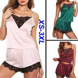 New 2 PCS Women Fashion Pajamas Set Ice Silk Lace Lingerie Spaghetti Strap Vest+Short Pants Nightwear Suits