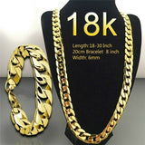 Men's 18K Gold Necklace 6mm Width Chain Fashion Fine Necklace Bracelet Unisex Chain Jewelry Size: 18-30 Inches