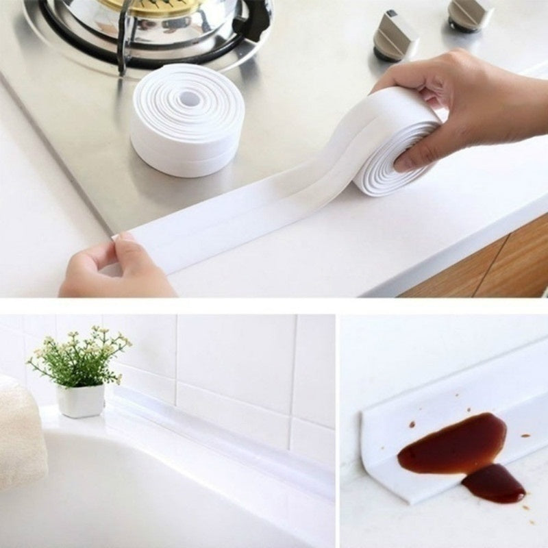 New PVC Material Sink Stove Crack Strip Kitchen Bathroom Bathtub Corner Sealant Tape Waterproof Mould Proof Sealing Strip Adhesive Tapes Corner Stickers Waterproof Paste Sealing Tape