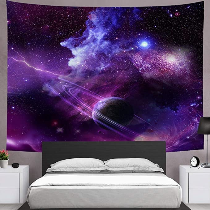 Galaxy Tapestry Starry Sky Tapestry Psychedelic Tapestry Space Landscape Tapestry Purple Starry Art Print Wall Hanging Tapestry for Home Decor