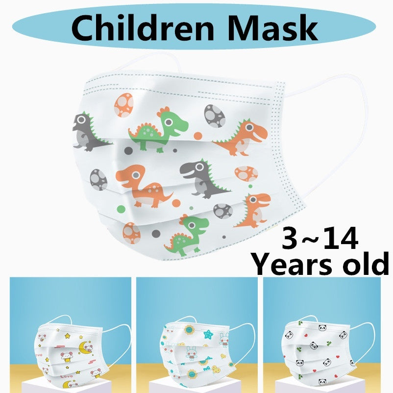 Cartoon Kids Disposable Mask 3layer Children's Protective Face Mask Non Woven Breathable Mouth Mask for Boys Girls