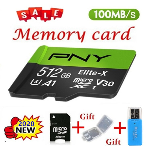 2020 new PNY high speed 512GB 256GB 128GB 64GB 32GB 128MB USB drive Micro SD Micro SDHC Micro SD SDHC card 10 UHS-1 TF memory card + card reader