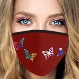 Women Butterfly Print Face Mask Outdoor Sport Mask Summer New Fashion Breathable Mask Proof Dust Anti Pollution Washable Mouth Half Face Mask