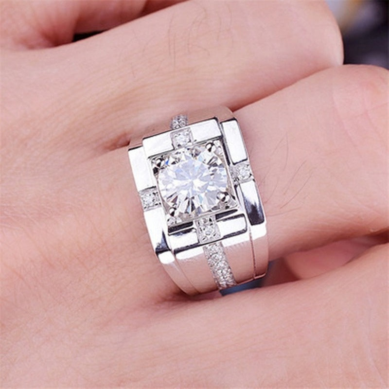 New Fashion Luxury 18K Gold 925 Silver Men's Ring Classic High Carbon Diamond Men's Diamond Ring Jewelry