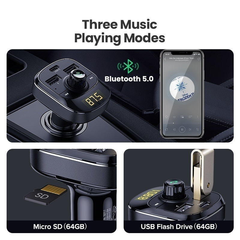 Promoting! UGREEN Car Kit  Bluetooth MP3 Player Hands-free Call Wireless FM Transmitter Radio Adapter with Three USB Car Charger bluetooth optional