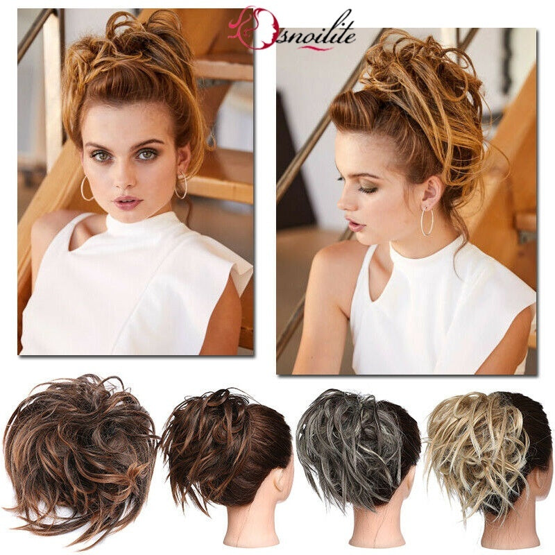 NEW ARRIVAL Color 100% Real Thick 45G Messy Bun Hairpiece Scrunchie Hair Extensions Natural AS Human Hair (Wedding/Party/Daily Use)