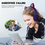 Cute Cat Ear Bluetooth 5.0 2020 NEW 5 colors Hifi Headphones LED Noise Cancelling Girls Kids Cute Headset Mic Wireless Headphones