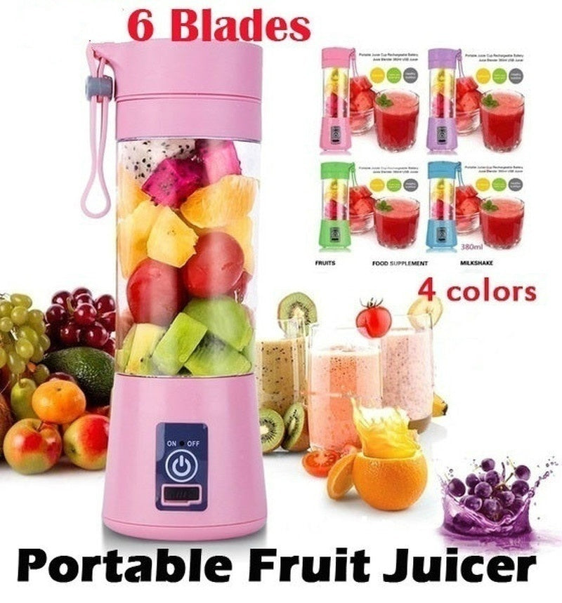 6 Blades Mini USB Portable Electric Fruit Juicer Smoothie Maker Blender Machine Sports Bottle