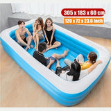 305 x 183 x 60CM / 262 x 175 x 60CM Large Size Summer Family Swimming Bathing Pool Inflatable Bathtub Pool Float Indoor Outdoor Kids Adult Playing Water For 7-11 Child+Adult