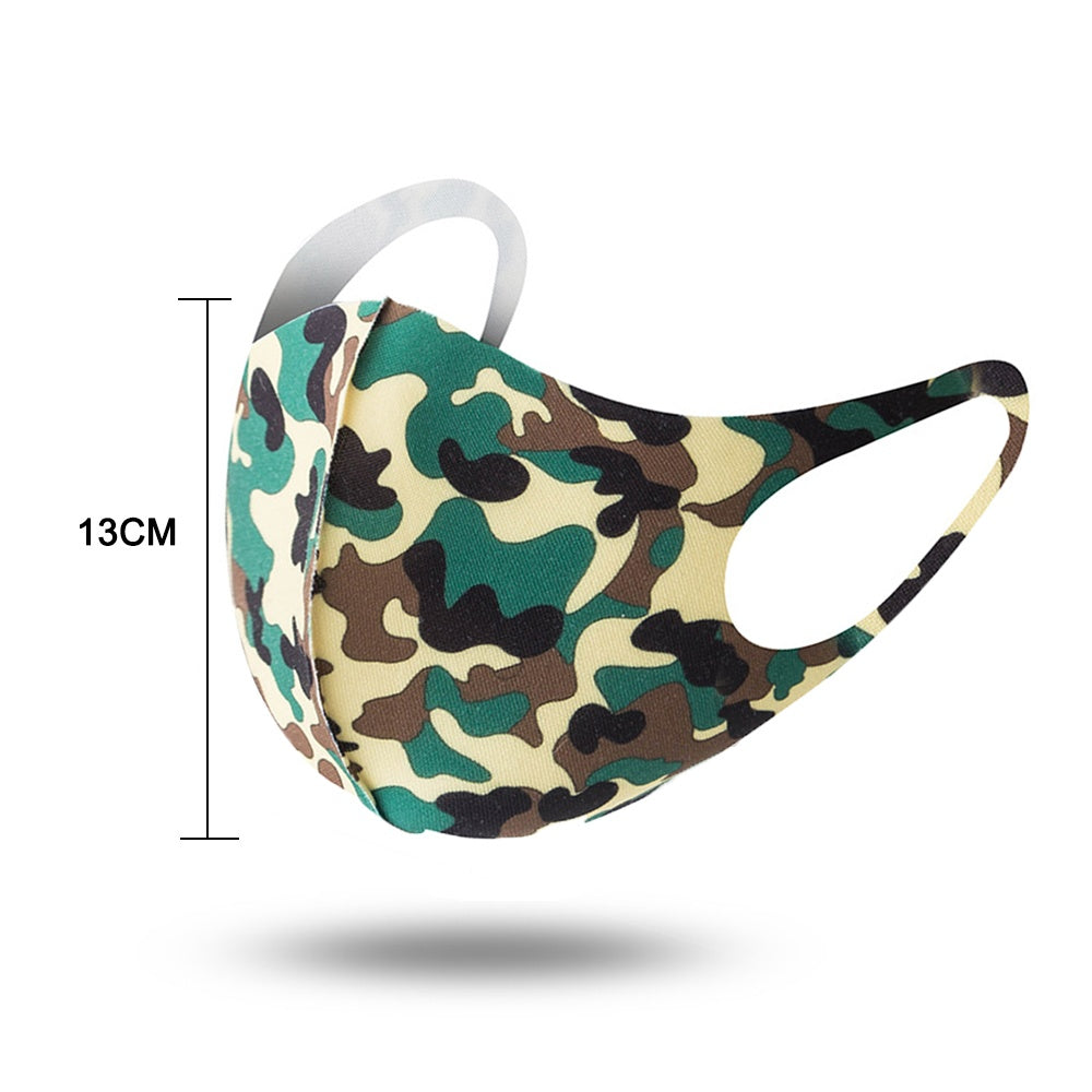10/20 Pcs Sponge Ice Silk Anti-dust Mouth Mask Breathable Camouflage Face Cover for Outdoor Riding Pm2.5 Protection Face Masks 10 Color