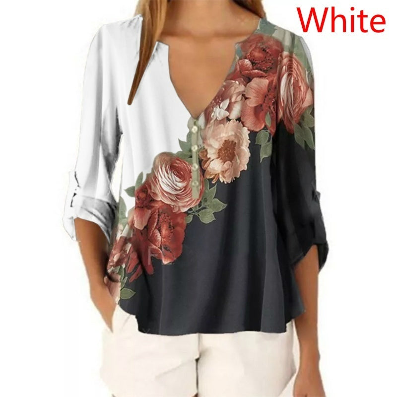 Plus Size XS-5XL Women's Fashion Summer Floral Print Front 3/4 Sleeve Tops V-Neck Pullover Shirts