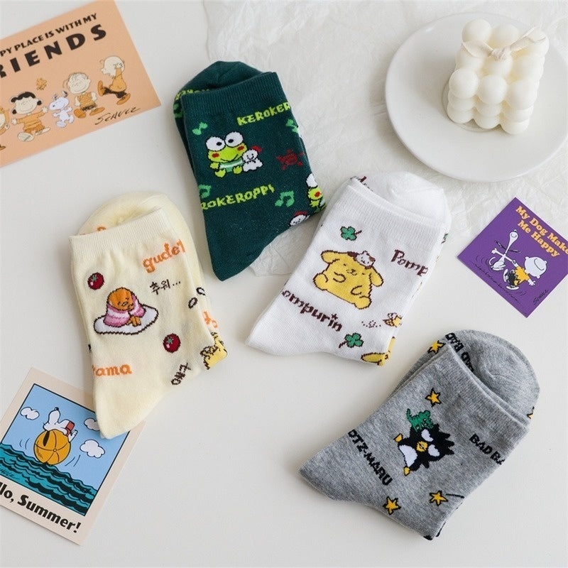Cartoon Gudetama Socks Women Cute Pom Purin Travel Frog Cinnamoroll BabyCinnamoroll Bad Badtz Maru Funny Men Cotton Sock