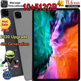 2020 New Upgrade 11.6 Inch Ten Core WiFi Tablet PC Android 10.0 Arge 2560*1600 IPS Screen Dual SIM Dual Camera Rear 13.0 MP IPS Tablet Call Phone Tablet Gifts(RAM 10G+ROM 512GB) Tablet-PC Tablette