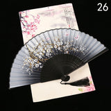1PC Flower Pattern Silk Bamboo Fan Folding Classical Party Decoration Fashion Home