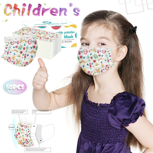 Children's Mask Disposable Face Mask 3Ply Ear Loop Cute Cartoon Dinosaur Masks 50PC
